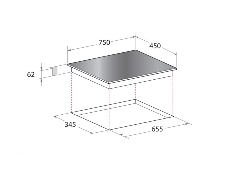 Yeobuild HomeStore Mayer MM75IH Induction Hob diagram