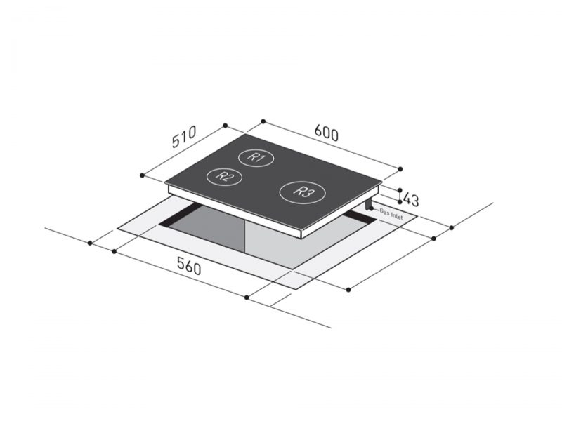 Yeobuild HomeStore Mayer MMGH633 Glass Hob Dimension Diagram