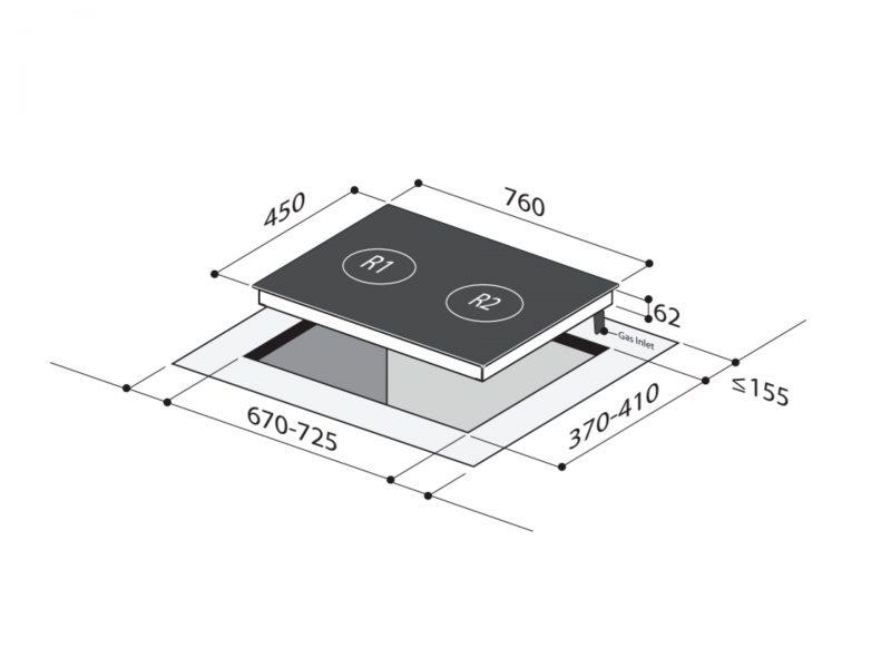 Yeobuild HomeStore Mayer MMGH772 Cooker Hob dimension diagram