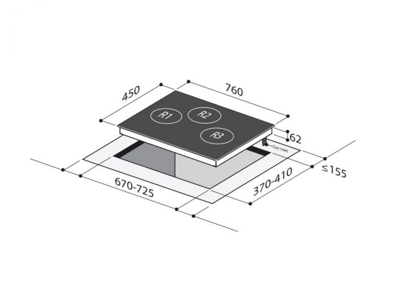 Yeobuild HomeStore Mayer MMGH773 Glass Hob Diagram