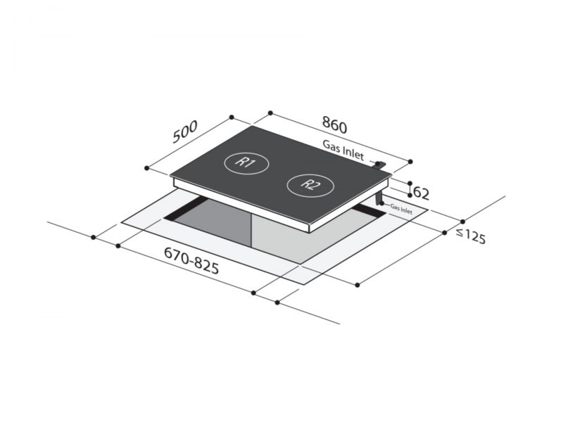 Yeobuild HomeStore Mayer MMGH882H Glass Hob Diagram