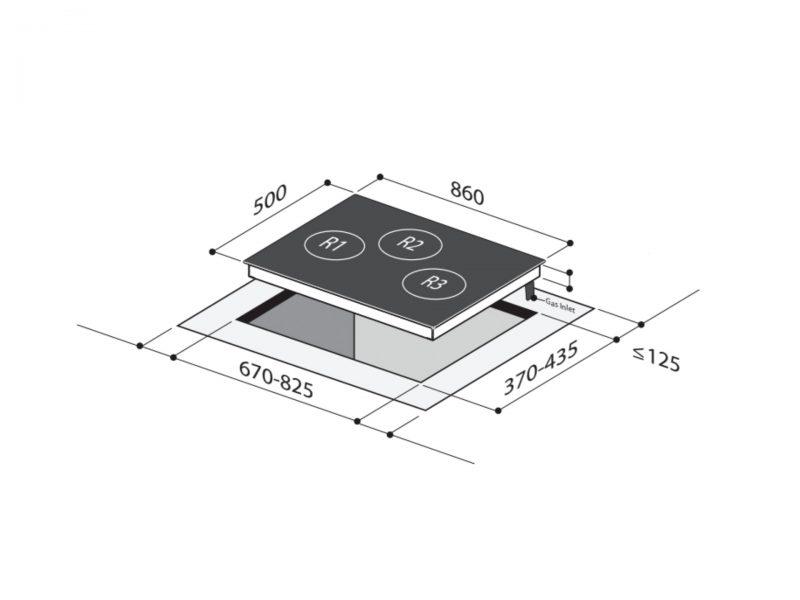 Yeobuild HomeStore Mayer MMGH883H Glass Hob diagram