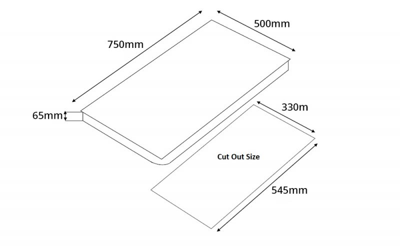 Tecno T 22TGSV 2-Burner Glass Hob Dimension