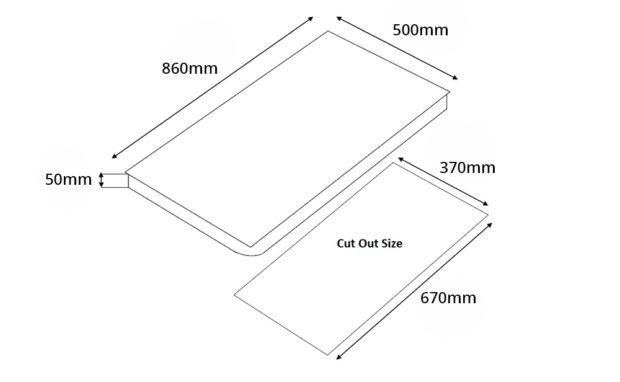 Tecno T 938TRSV 3-Burner Glass Hob Dimension