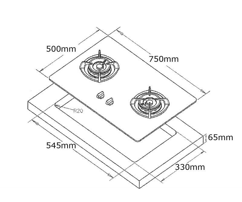 Tecno T28TGSV 2-Burner Glass Hob Dimensions