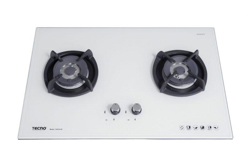 Tecno T28TGSV 2-Burner Glass Hob Optic White