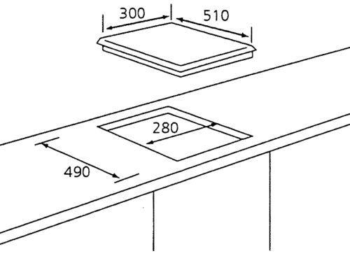 Tecno TA 311TRSV 1-Burner Glass Hob Dimension