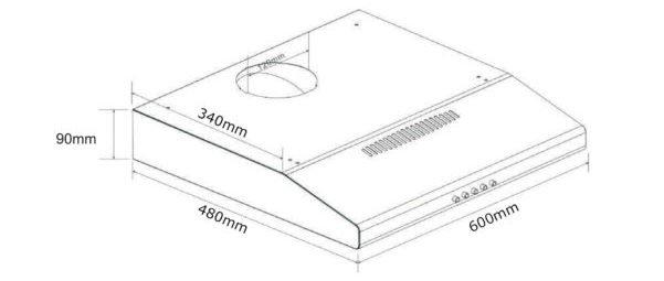 Tecno TCH 6011TL Slimline Hood Dimensions