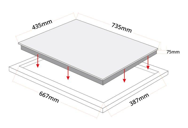 Tecno TG 208VC Vitro-Ceramic Hob Dimension