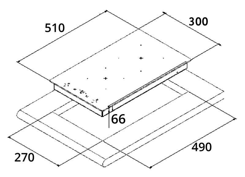 Tecno TIH 300 Domino Induction Hob Dimension