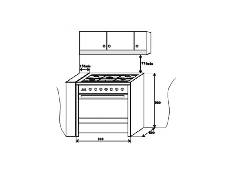 EF GC AE9650 A SS Range Cooker Dimension